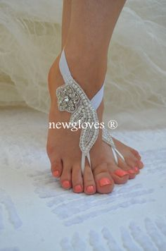 Flexible wrist lace sandals White Black or ivory Gold Champagne lace barefoot sandals Beach wedding barefoot sandals Nude Sandals, Bare Foot Sandals, Beach Wedding Sandals, Bridesmaid Accessories, Rhinestone Sandals, Swarovski Pearls, Boho, Bridal Shoes, Anklet
