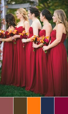 Top 5 Fall Wedding Color Combo Ideas for Autumn Brides 2015 | http://www.tulleandchantilly.com/blog/top-5-fall-wedding-color-combo-ideas-for-autumn-brides-2015/