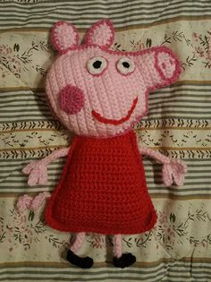 Hæklet Gurlig Gris Crochet Toys, Crochet Baby, Knit Crochet, Peppa Pig, Little People, Applique, Crochet Patterns, Teddy Bear, Dolls