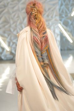 Gorgeous rainbow hair mega fishtail braid from Wella Professional. Fantasy Hair, Rainbow Hair, Rainbow Braids, Hair Art, Pretty Hairstyles, Updo Hairstyle, Hair Inspiration, Hair Inspo, Your Hair