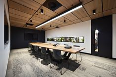 Thoughtful use of perforated oak lay in ceiling panels at the Billard Leece Partnership Office Fitout in Melbourne More: – interior Corporate Office Design, Law Office Design, Office Interior Design, Office Interiors, Office Designs, Office Ideas, Interior Ideas, Modern Office Decor, Industrial Office Design