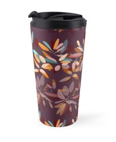 Art fot travelers. Warm and feminine autumn colors travel mug. Burgundy, orange, pumpkin color. High quality product designed by independent artist. Perfect gift for her.#ArtForTravelers