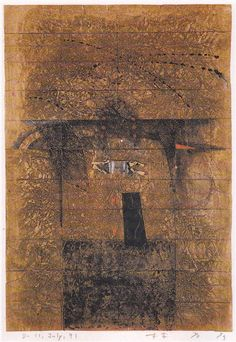Takahiko Hayashi ~ D-4, 1990 (painting, collage on paper)