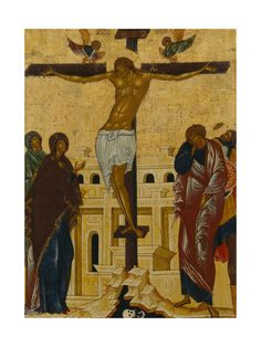 The Crucifixion. Byzantine Icons, Byzantine Art, Crucifixion Of Jesus, Jesus Christ, Christian Crafts, Russian Icons, Holy Cross, Religious Icons, Religious Tattoos