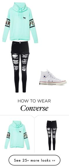 """PINK"" by emilymote on Polyvore featuring Victoria's Secret PINK, Glamorous and Converse"