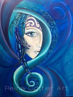 Goddess Art Print featuring the painting The Dream Catcher by Reina Cottier Dream Catcher Painting, Dream Catcher Art, Kunstjournal Inspiration, Art Journal Inspiration, Maori Designs, Nz Art, Maori Art, Goddess Art, Architecture Tattoo