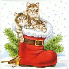 4 xSingle Luxury Paper Napkins for Decoupage and Craft Christmas Kitties