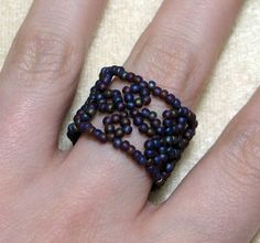 Beaded Lace Band Ring   JewelryLessons.com