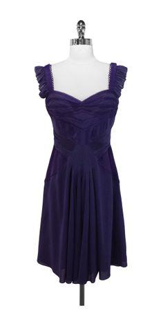 Current Boutique - Zac Posen - Purple Ruffle & Pleated Dress