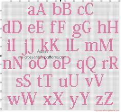 Free cross stitch alphabet kozuka mincho size 20 color dmc 3806 for female babies lettere punto Crochet Alphabet, Cross Stitch Alphabet Patterns, Embroidery Alphabet, Cross Stitch Letters, Cross Stitch Heart, Learn Embroidery, Hand Embroidery Patterns, Cross Stitch Embroidery, Stitch Patterns