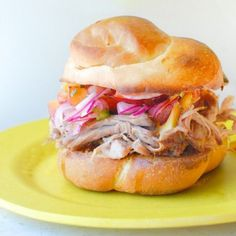 This pulled pork sandwich with stone fruit salsa looks amazing! Pork Sandwich, Sandwiches, Sandwich Board, Paprika Pork, Smoked Paprika, Pork Ham, Shredded Pork, Fruit Salsa, Stone Fruit