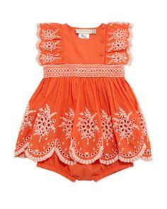 Z1E3J Stella McCartney Floral Eyelet Embroidered Dress & Bloomers, Tangerine, Size 3-24 Months