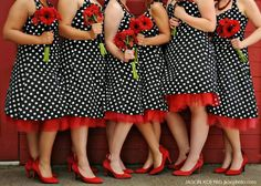 Polka dot bridesmaids dress