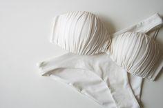 #white #bikini #strapless