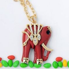 Brilliant Rhinestoned Elephant Pendant Sweater Chain Necklace For Women