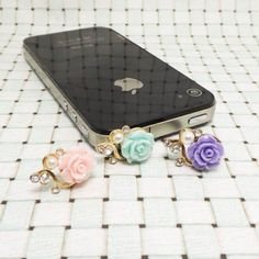 20%OFF 3 Colors Rose Crystal Pearl Anti Dust Plug 3.5mm Smart Phone Dust Stopper Earphone Cap Headphone Jack Charm iPhone 4 4S 5 HTC Samsung on Etsy, $3.48
