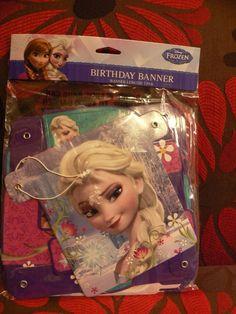Disney Frozen Birthday Party Banner Princess Elsa and Anna #Disney #BirthdayChild