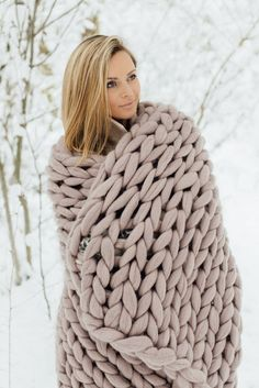 Chunky knit wrap, giant yarn, arm knit from 100% merino wool, extra warm chunky wrap