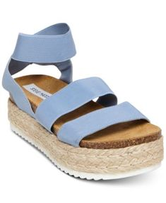 Steve Madden Women's Kimmie Flatform Espadrille Sandals - Blue High style: Steve Madden's Kimmie espadrille sandals with stretchy crisscross straps and a chunky platform heel design. Sandals Outfit, Blue Sandals, Flip Flop Shoes, Flip Flops, Cute Shoes, Me Too Shoes, Pretty Shoes, Studded Heels, Espadrille Sandals