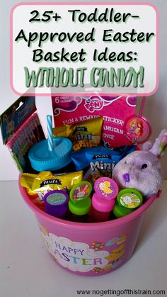 Need frugal ideas for your toddler's Easter basket? Here are 25+ items you can get at the dollar store- and no candy!