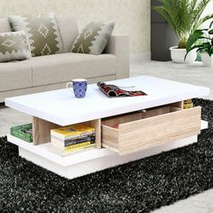 A #stylish #coffee #table to go with #contemporary settings. #Sleek #top is orchestrated over a sturdy #oblong #base.