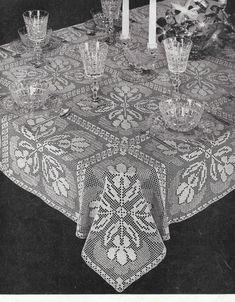 Crochet Tablecloth Pattern Iris Motif Lace Crochet by TheFoundBox