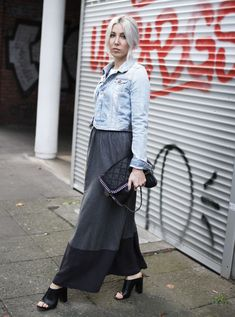 Wood Wood, Maxi Skirt, Maxirock, Jeansjacke, Mules, Falabella, Stella McCartney, ootd, lotd, Look, Outfit, ootd, Style, Streetstyle, Fashion, Blog, stryleTZ