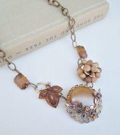 Vintage Assemblage Bib Necklace Repurposed Upcycled Vintage Jewlery