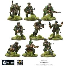 Waffen SS - Warlord Games German Soldiers Ww2, Toy Soldiers, Action Painting, Figure Painting, Bolt Action Game, Bolt Action Miniatures, Plastic Soldier, 28mm Miniatures, Fantasy Model