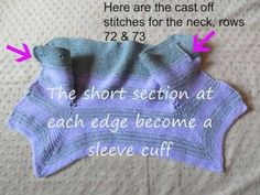 How to Fold the Surprise Baby Jacket. Jacket is oriented such that you are looking at the wrong-side with the bottom of the jacket at the bottom of the scree...