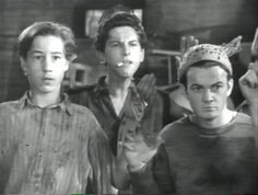 Bobby Jordan, Gabriel Dell, Leo Gorcey, caught red-handed by Jimmy Cagney in 'Angels with Dirty Faces' 1938