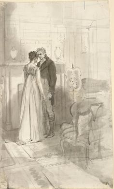"""Her sister and Bingley standing together"", Pride and Prejudice by Isabel Bishop."