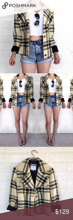 Moschino plaid wool jacket Super chic wool jacket in plaid by Moschino jeans. Missing a button at top but not noticeable because flap covers it as shown also has several moth holes but that seems to be trending anyway soooo.... 😎 Moschino Jackets & Coats
