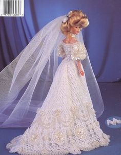 Image detail for -... Victorian Lace Bridal Gown Paradise 58 NEW Barbie Doll Crochet PATTERN