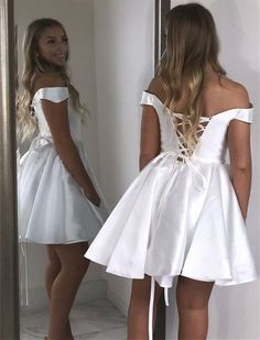 Off The Shoulder A-Line Dresses,Short Prom Dresses,Cheap Homecoming Dresses Freshman Homecoming Dresses, Simple Homecoming Dresses, Hoco Dresses, Dance Dresses, Evening Dresses, Party Dresses, Graduation Dresses, Homecoming Pictures, Homecoming Ideas