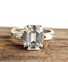Vintage Art Deco Ring -  Size 5.5 Adjustable Clear Crystal Glass Stone Costume Jewelry / 1930s 1940s Faux Diamond.