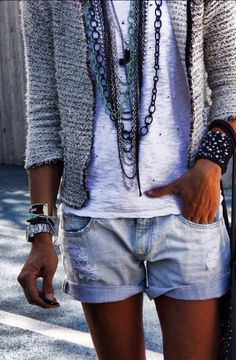 Boho chic! Could not like it more..! Chanel jacket, jean shorts, chain necklaces