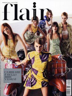 flair Februray 2003: maggie rizer, jaquetta wheeler, bridget hall, anouk lepere, linda vojtova & emily sandberg.