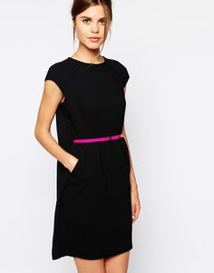 Image 1 of Ted Baker Dress with Pleated Cape Detail and Pink Belt