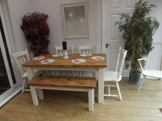 5ft pine farmhouse kitchen dining table and chairs and bench painted shabby chic in Home, Furniture & DIY, Furniture, Table & Chair Sets | eBay