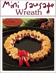 Its Written on the Wall: Christmas Appetizers-Hot Chocolate, Mini Sausage Wreath, Christmas Coal Popcorn and more!