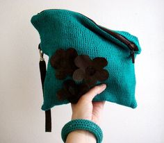 Turquoise Clutch Bag Brown Real Leather Strap and Flowers by faima, $58.00