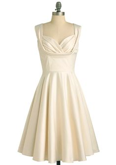 Aisle Be There Dress in Lily - Formal, Wedding, Pinup, Vintage Inspired, 40s, 50s, Cream, Solid, Pockets, Tank top (2 thick straps), White, Prom, Fit & Flare, Long, Bride, Top Rated