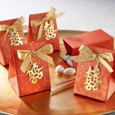 Asian Style Favor Box With Double Happiness And Gold Bow (Set of 12) (050005792)
