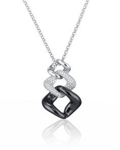 Collier Argent et Céramiqe marque : CERANITY motif en argent serti d'oxydes de zirconium et motif céramique noir poids total : 6,60 grs