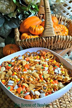 Delicious blend of salty and sweet. Recipe for Harvest Hash, a Halloween Trail Mix. Perfect for a Fall snack, Halloween party, or gift for neighbors.