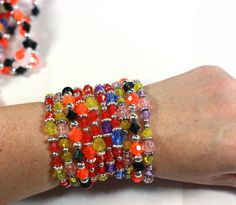 5 Hand Beaded Stacking Stretch Bracelets in assorted colors - Handmade by Me - Party Favor Supplies by SKWOriginalsbySummer on Etsy