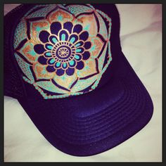 Navy blue trucker with hand painted mandala by TaraBouchard 9ddbd9bc70a