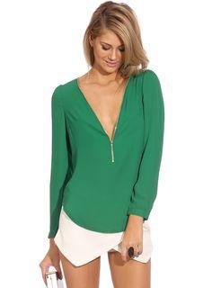 Green V Neck Long Sleeve Zipper Top - Sheinside.com