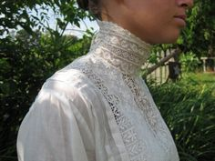 Victorian or Edwardian High Neck Collar  Cotton Embroidered Shirtwaist Blouse